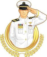 Military Officer Salute Army Air Force Navy General Cartoon Drawing vector