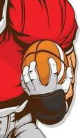 jugador de fútbol americano, tenencia, pelota, caricatura, ilustración, dibujo vector