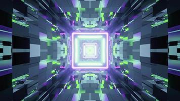 um túnel com paredes de vidro e luzes de néon ilustração 3 d