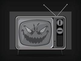 Television Ghost Evil Face Spirit Halloween Cartoon Vector Drawing