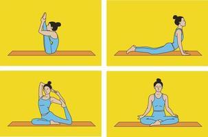 Yoga pose set vector