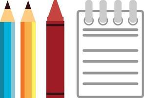 Papelería lápiz crayón Bloc de notas dibujo de dibujos animados ilustración vectorial vector