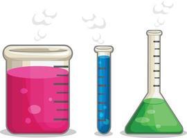 Chemistry Glass Flask Laboratory Experiment Beaker Cartoon Drawing vector