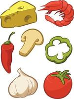 Italian Pizza Ingredients Cartoon Drawing Vector Illustration