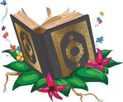 Islam Holy Book Quran Moslem Arab Cartoon Drawing Vector Illustration