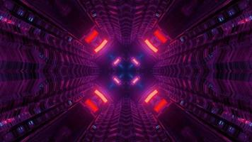 Abstract 3D Illustration of Moving Tunnel with Neon Lights