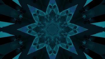 illustration géométrique 3 d du couloir en forme d'étoile bleue sans fin video
