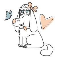 Cute little girl - a dog with a bow on the ear. Domestic funny pet with bow tie and heart. Vector drawing. Line