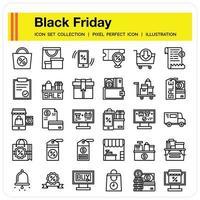 Blackfriday icon set vector