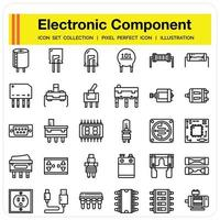Electronic Component icon set vector