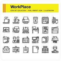 Workplace icon set vector