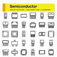 Semiconductor icon set vector