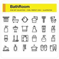 Bathroom icon set vector
