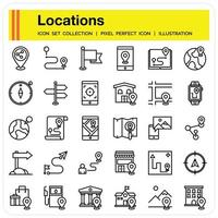 Location Outline icon set vector