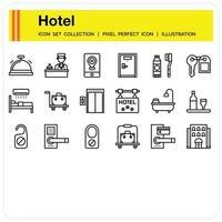 conjunto de iconos de esquema de servicio de hotel vector