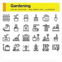 Gardening outline icon vector