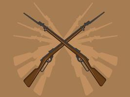 Old Rifle Gun Bayonet Military Weapon Cartoon Illustration Drawing vector
