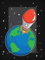 Flying Space Rocket Launch Orbit Cartoon Illustration Vector Drawing