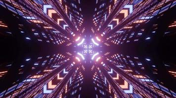 Proyección brillante de patrón ornamental en ilustración 3d video