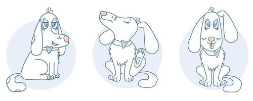 A cute, playful white dog with a heart runs and sits, scratches an ear, sticks out its tongue vector