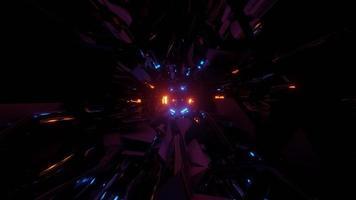 Bewegung durch dunklen Tunnel mit funkelnden Neonlichtern 3d Illustration