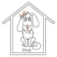 Lovely pet. A white dog girl with a bow on her ear and her tongue sticking out is sitting in a house vector