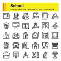 School outline icon set vector