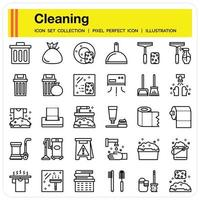 Cleaning outline icon set vector