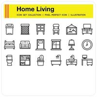 Home living icon set vector