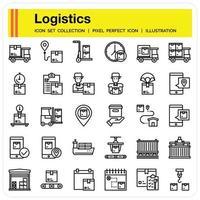 Logistics Outline icon set vector