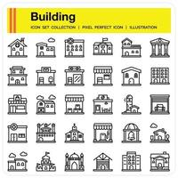 Building Outline icon set vector