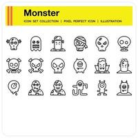 Monster Outline icon set vector