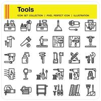 Tools Outline Icon set vector
