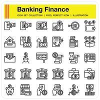 conjunto de iconos de esquema de finanzas bancarias vector