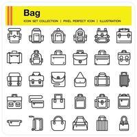 Bag outline icon set vector