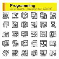 Programming Outline icon set vector