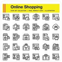 Online Shopping icon set vector