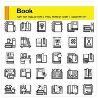 Book Outline icon set vector
