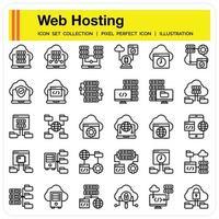 Web HOSTING outline icon set vector