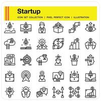 Startup Outline icon set vector