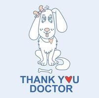 Cute little girl dog with a bow on the ear. Thank you doctor vector