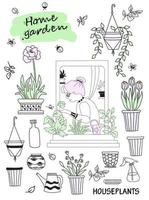 Indoor plants in a modern house and people. Elderly woman in a green interior. Set of doodles woman in a window with butterflies and flower pots and flowers, pots and tools. Hobbies and green house vector