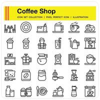 Coffee Shop Outline icon set vector