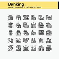 Banking Outline icon set vector