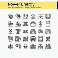 Power energy outline icon set vector