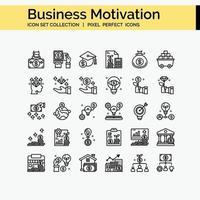conjunto de iconos de esquema de motivación empresarial vector