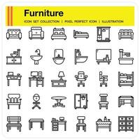 Furniture Outline icon set vector