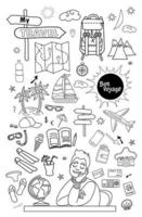 Doodle set of vector linear travel doodles. Travel concept with a dreaming person.
