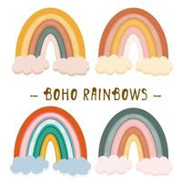Boho clipart for nursery decoration with cute rainbows. Perfect for baby shower, birthday, children's party
