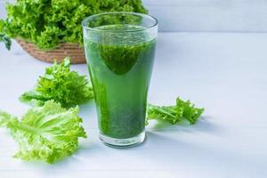 Fresh green vegetable juice photo